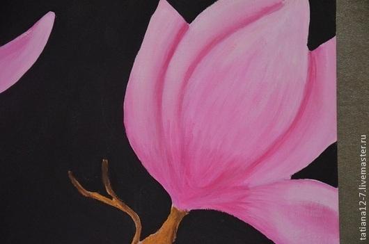 """Картины цветов ручной работы. Ярмарка Мастеров - ручная работа. Купить """"Magnolia"""". Handmade. Фуксия, картина для интерьера, розовый, магнолия"""