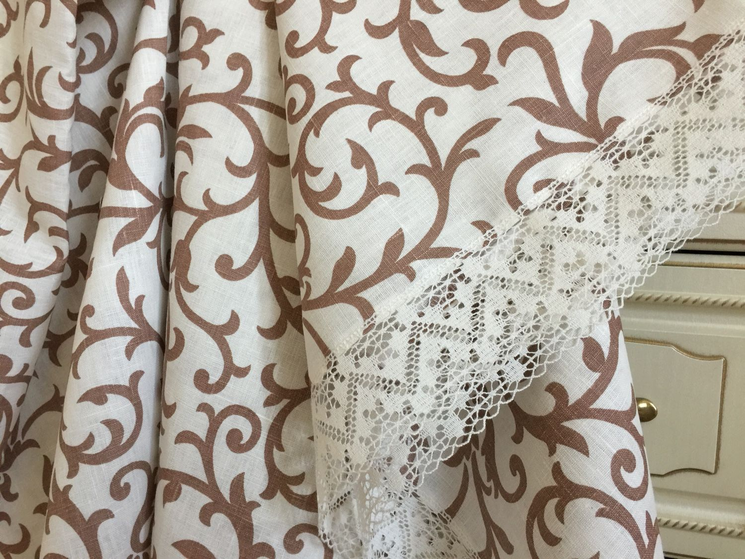 Linen tablecloth 'Monogram in cappuccino' available in 2 sizes, Tablecloths, Ivanovo,  Фото №1