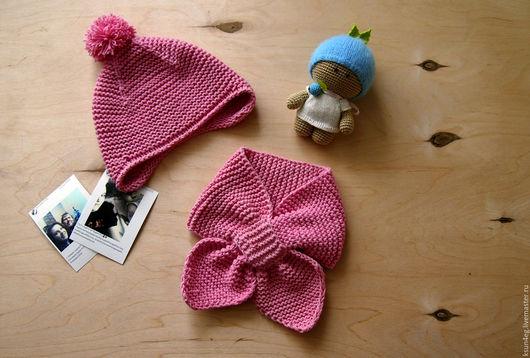 Одежда унисекс ручной работы. Ярмарка Мастеров - ручная работа. Купить Вязанный комплект для детей шапка и шарф. Handmade. Шапка