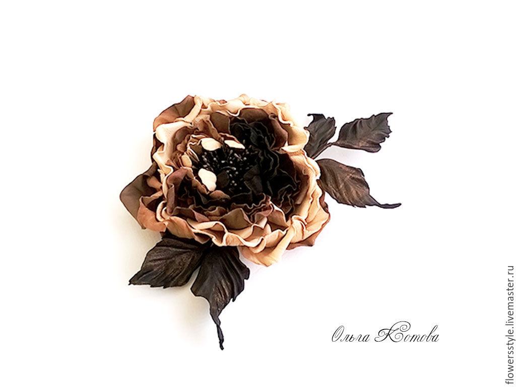 rose leather coffee chocolate dream flower skin caramel flower, Brooches, Kursk,  Фото №1