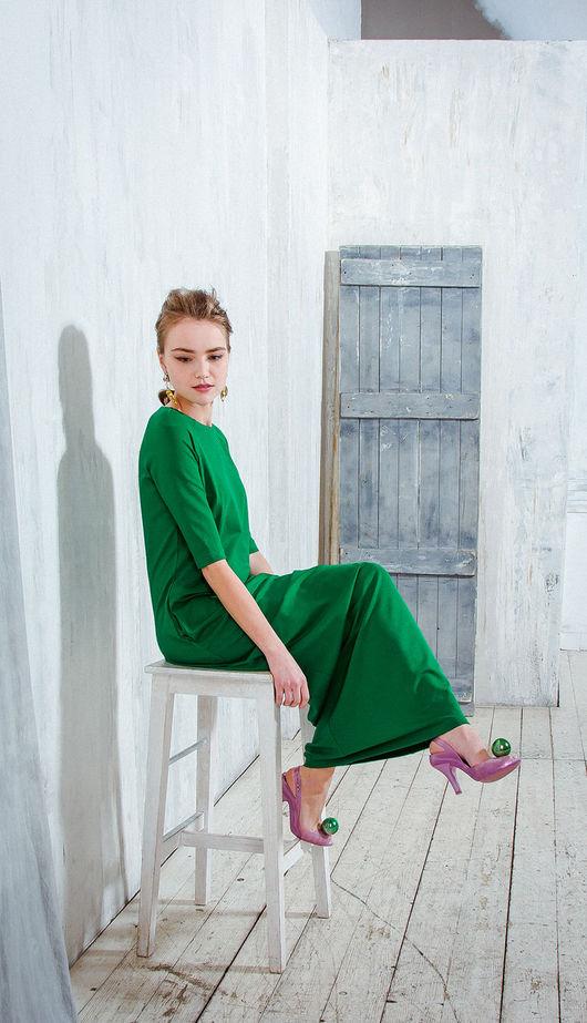Платья ручной работы. Ярмарка Мастеров - ручная работа. Купить Изумрудное трикотажное платье. Handmade. Зеленый, изумрудное платье