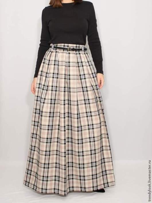 Юбки ручной работы. Ярмарка Мастеров - ручная работа. Купить Длинная юбка в клетку, юбка с карманами, юбка в складку. Handmade.