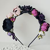 Украшения ручной работы. Ярмарка Мастеров - ручная работа Обруч для волос - кожаные цветы. Handmade.