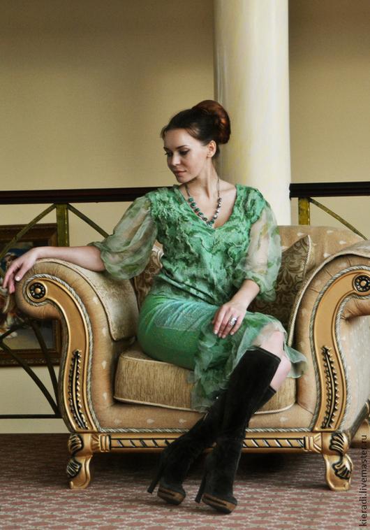 """Костюмы ручной работы. Ярмарка Мастеров - ручная работа. Купить костюм из шерсти и шелка  """"Romance"""". Handmade. Зеленый, романтичный образ"""