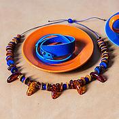 Аксессуары ручной работы. Ярмарка Мастеров - ручная работа Сет янтарь и синий. Handmade.