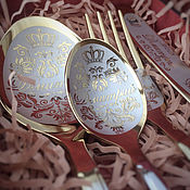 Подарочные боксы ручной работы. Ярмарка Мастеров - ручная работа Именной столовый набор на одну персону в деревянной коробочке. Handmade.