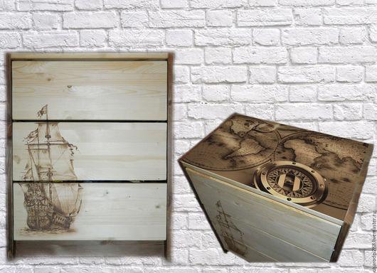 """Мебель ручной работы. Ярмарка Мастеров - ручная работа. Купить Комод """"Венецианский купец"""". Handmade. Бежевый, корабль, комод из сосны"""