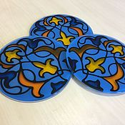Для дома и интерьера handmade. Livemaster - original item Glass coaster set. Moroccan ornament. Handmade.