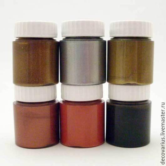 Набор метализированной краски-патины для любых поверхностей, 6 штук по 25мл. В наборе: грунт черный грунт кирпичный краска-металлик Яркое Золото краска-металлик Серебро краска-металлик Королевск