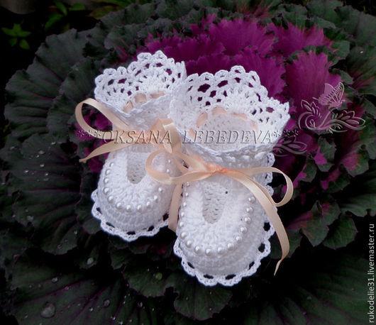 Для новорожденных, ручной работы. Ярмарка Мастеров - ручная работа. Купить Пинетки для новорожденных ажурные вязаные хлопок Капуста Фиолетовый. Handmade.