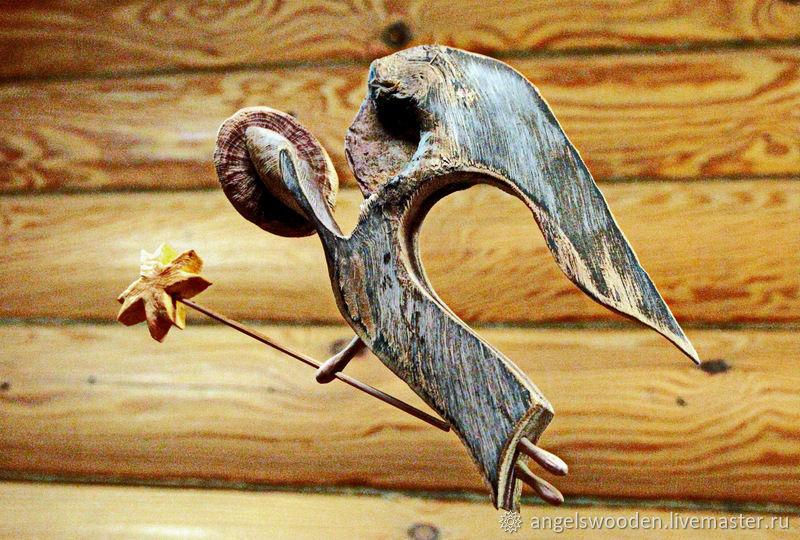 Ангела несущий свет. Фигурка из дерева, Статуэтки в русском стиле, Пушкино,  Фото №1