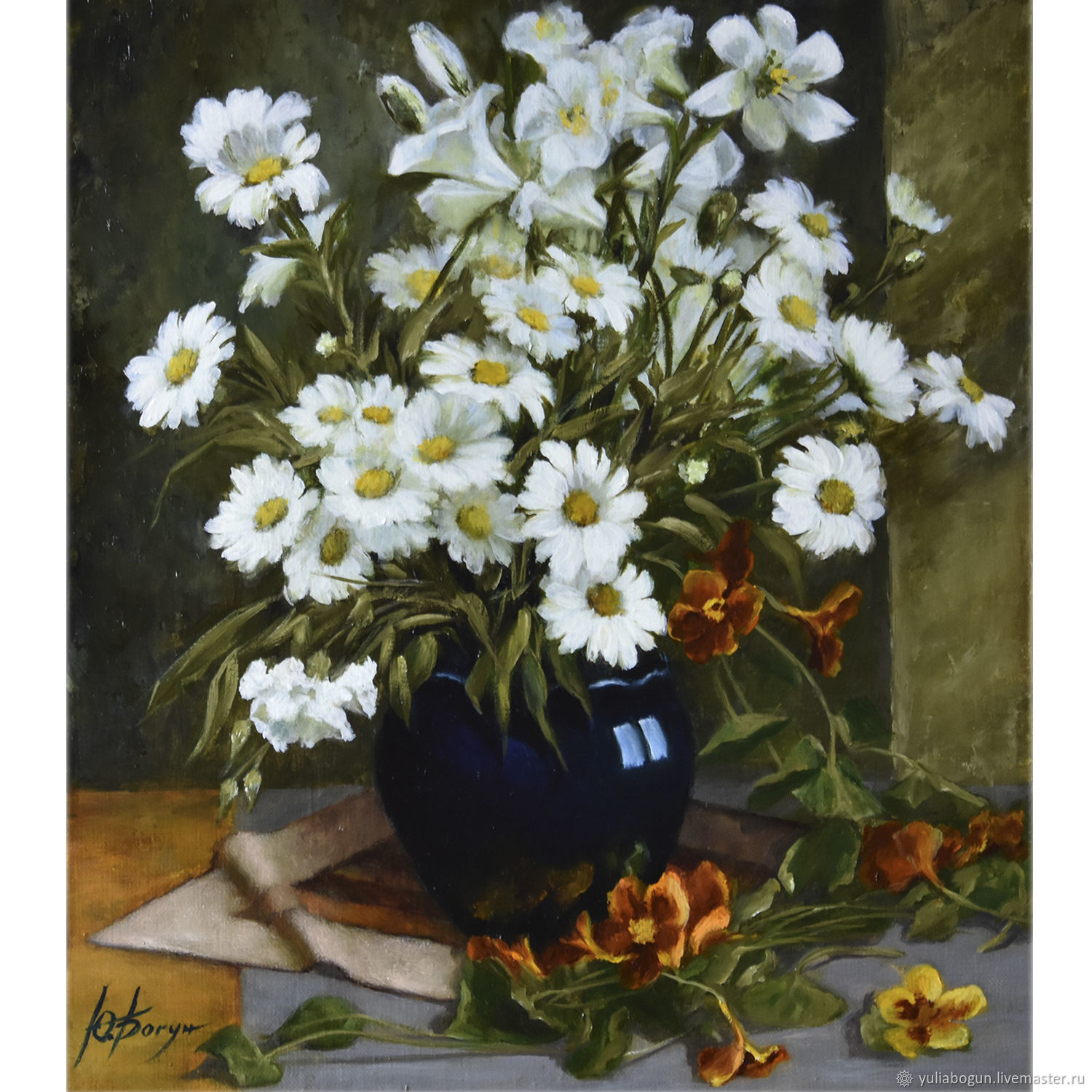 Oil painting 'Bouquet of daisies', Pictures, Belorechensk,  Фото №1