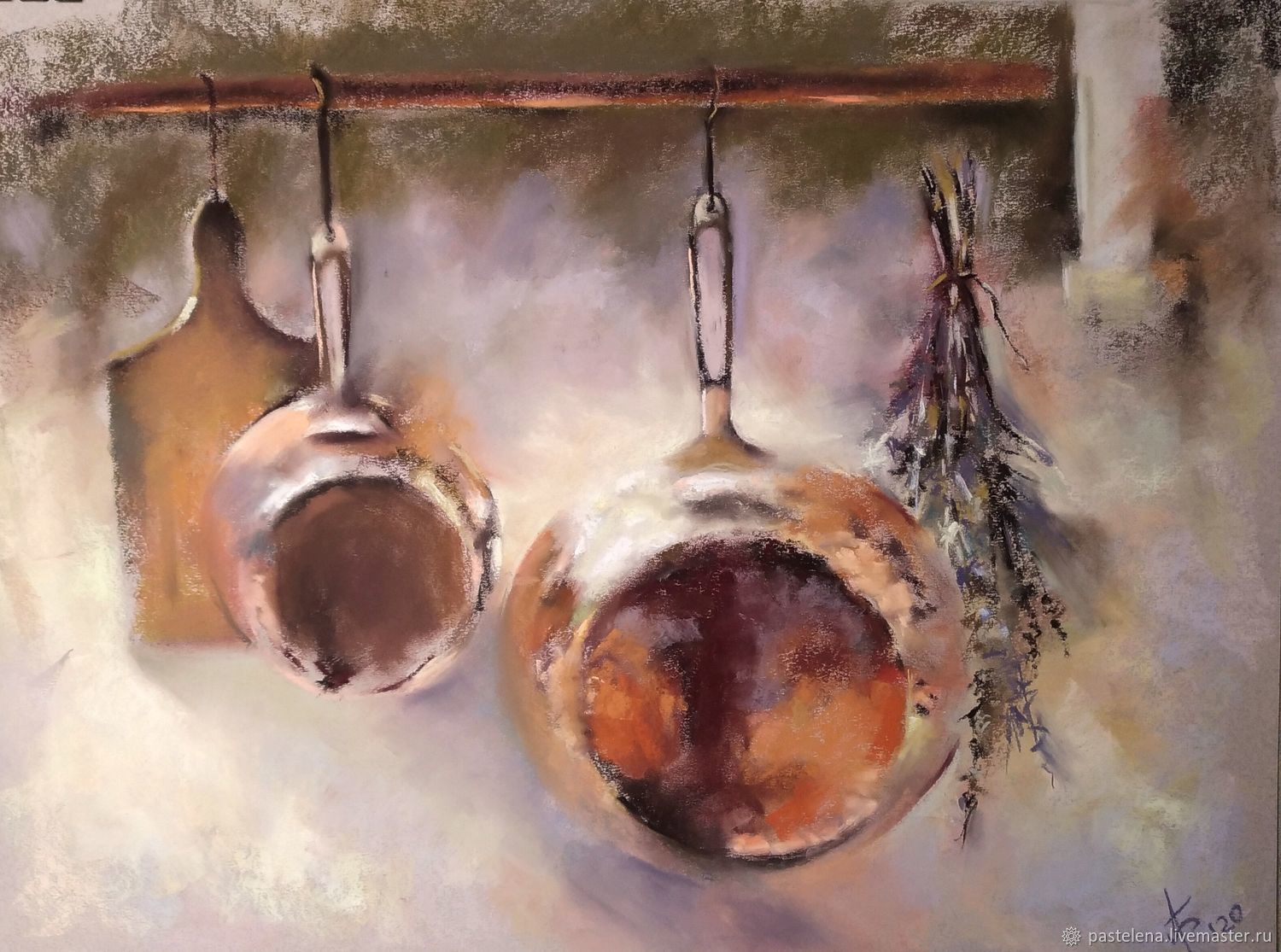 Painting for the kitchen still Life with dishes (red yellow olive copper), Pictures, Yuzhno-Uralsk,  Фото №1