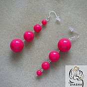 Украшения handmade. Livemaster - original item Fashion long summer pink fuchsia earrings. Handmade.