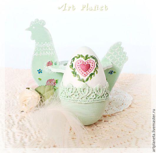"""Подарки на Пасху ручной работы. Ярмарка Мастеров - ручная работа. Купить Кружевное пасхальное яйцо на подставке """"Мятная Пасха"""". Handmade."""