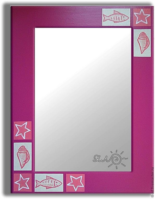 Зеркало настенное розовое Ракушки, Зеркала, Новосибирск,  Фото №1