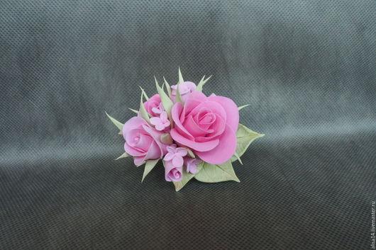 Заколки ручной работы. Ярмарка Мастеров - ручная работа. Купить Заколка с розами. Handmade. Розовый, полимерная глина