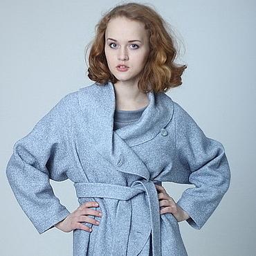 Одежда ручной работы. Ярмарка Мастеров - ручная работа Жакет из лодена, голубая шерстяная куртка на запахе, накидка. Handmade.