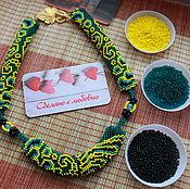 "Украшения handmade. Livemaster - original item Beaded decoration. Necklace ""emerald spring"". Handmade."