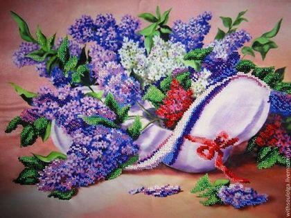 """Картины цветов ручной работы. Ярмарка Мастеров - ручная работа Картина """"Сирень"""" (вышивка бисером). Handmade."""