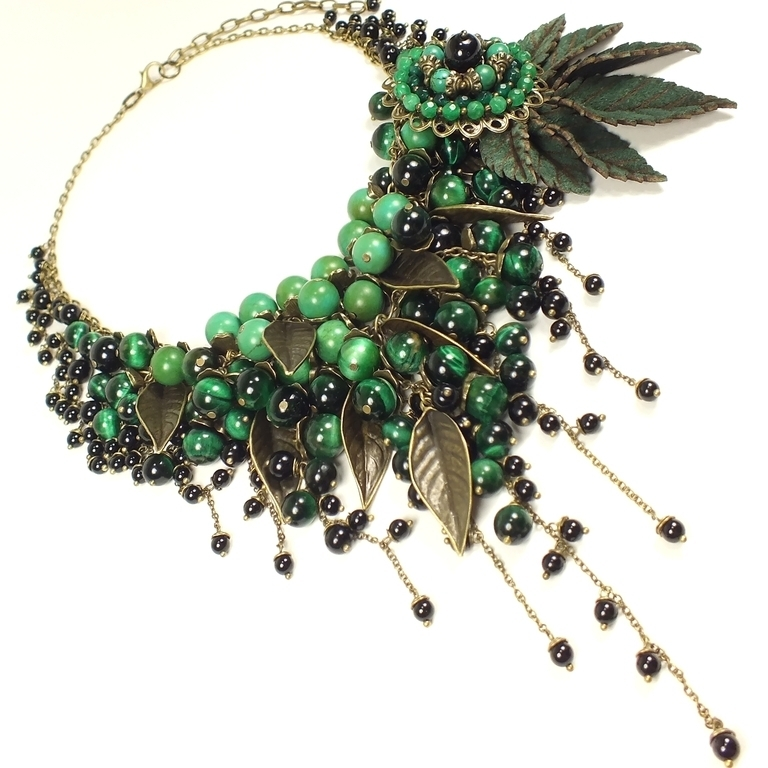 Dreams Of The Emerald Bird. Necklace and brooch, Jewelry Sets, St. Petersburg,  Фото №1