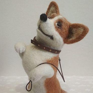 Куклы и игрушки ручной работы. Ярмарка Мастеров - ручная работа Корги. Собака Корги валяная игрушка. Корги из шерсти. Handmade.