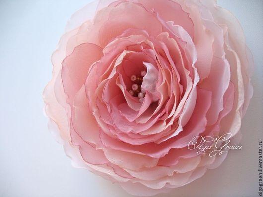 Броши ручной работы. Ярмарка Мастеров - ручная работа. Купить Брошь-цветок из ткани. Пудрово-розовый.. Handmade. Розовый