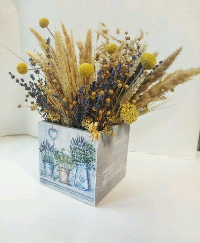 Ящик с сухоцветами, Композиции, Москва,  Фото №1