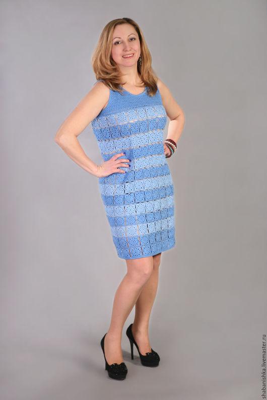 Платья ручной работы. Ярмарка Мастеров - ручная работа. Купить Платье ажурное. Handmade. Однотонный, платье летнее, голубой