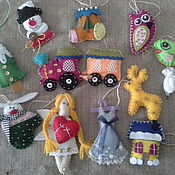 Подарки к праздникам ручной работы. Ярмарка Мастеров - ручная работа Елочные фетровые игрушки (набор). Handmade.