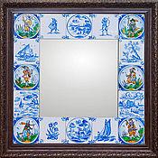 Для дома и интерьера handmade. Livemaster - original item Mirror Delft tiles Painted ceramic Painted ceramic tile. Handmade.