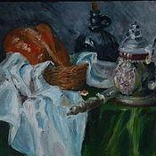 """Картины и панно ручной работы. Ярмарка Мастеров - ручная работа Картина маслом """"Хлеб и домашнее вино"""" (голландский). Handmade."""