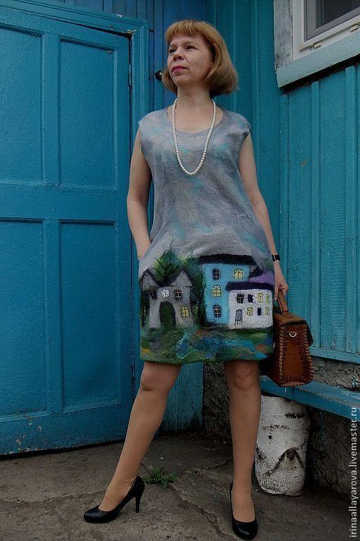 """Платья ручной работы. Ярмарка Мастеров - ручная работа. Купить Валяное платье  """"Мой город"""". Handmade. Платье, домики, рисунок"""