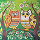"""Детская ручной работы. Ярмарка Мастеров - ручная работа. Купить Панно в детскую """"Совушки"""", песочный декор. Handmade. Зеленый, сова"""