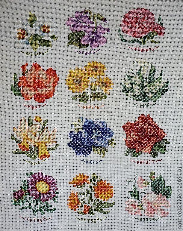 Вышивка крестом сэмплер Цветочный календарь – купить в интернет ... f711828f22c33