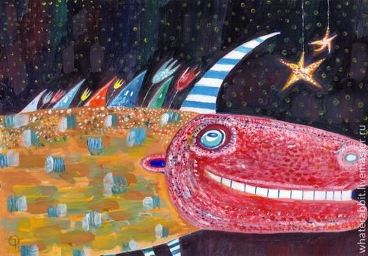 Фантазийные сюжеты ручной работы. Ярмарка Мастеров - ручная работа. Купить Единорог и Звездочка). Handmade. Картины, картина в детскую