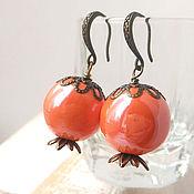 Украшения handmade. Livemaster - original item earrings. Ceramics. Sea buckthorn. Handmade.