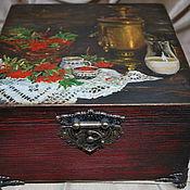 """Для дома и интерьера ручной работы. Ярмарка Мастеров - ручная работа Шкатулка для чая """"У самовара..."""". Handmade."""