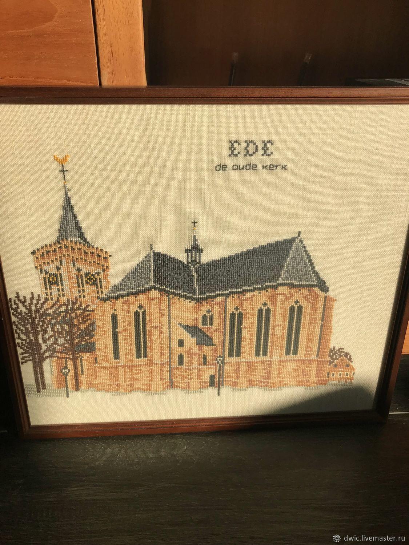 """Вышивка """"У старого собора"""", ручная работа, Голландия, Vintage interior, Arnhem,  Фото №1"""