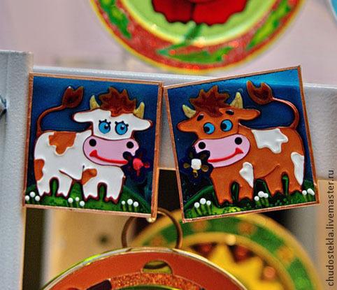 """Магниты ручной работы. Ярмарка Мастеров - ручная работа. Купить Парные магниты """"Бычок-Коровка"""". Handmade. Магнит на холодильник, корова"""