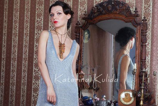 Платья ручной работы. Ярмарка Мастеров - ручная работа. Купить Серебряная туника-платье. Handmade. Вечернее платье, серебряный