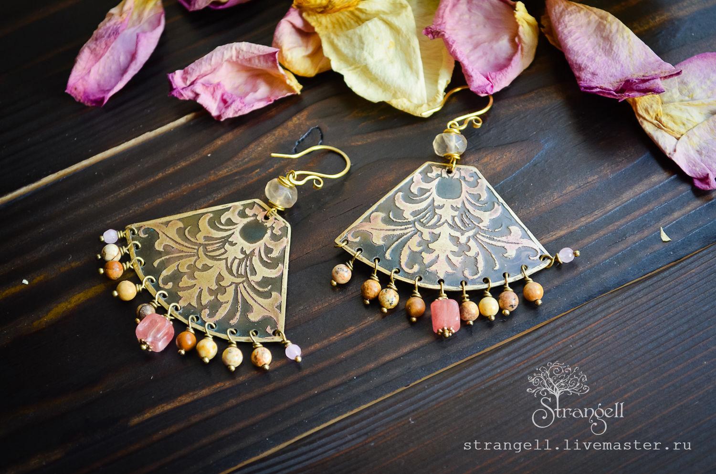 Pendientes de cobre amarillo de mircella con jaspe y cuarzo Boho étnicos, Earrings, Ulan-Ude,  Фото №1