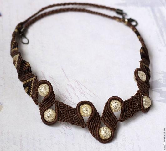 """Колье, бусы ручной работы. Ярмарка Мастеров - ручная работа. Купить Ожерелье """"Жженый сахар"""" макраме. Handmade. макраме колье"""