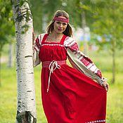 Costumes3 handmade. Livemaster - original item Linen circular red sundress. Handmade.