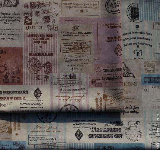 """Шитье ручной работы. Ярмарка Мастеров - ручная работа. Купить Ткань для пэчворка """"Марки. Штампы"""". Handmade. Розовый, ткань, ткань"""
