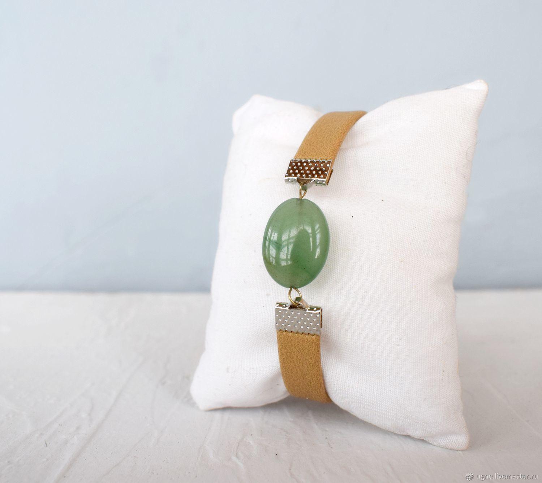 Womens leather bracelet with stone, sand and green, Bead bracelet, Cheremshanka,  Фото №1