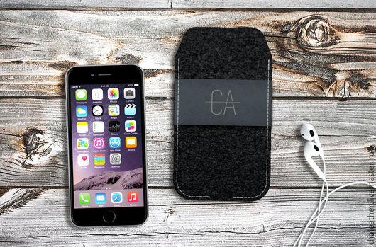 Для телефонов ручной работы. Ярмарка Мастеров - ручная работа. Купить Чехол из фетра и нубука для iPhone 6s. Handmade. Черный