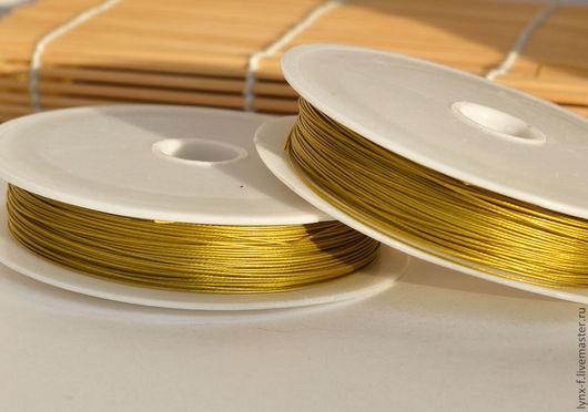 Для украшений ручной работы. Ярмарка Мастеров - ручная работа. Купить Ювелирная струна (ланка) золотистая 0,45мм 1м. Handmade.