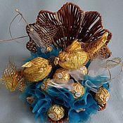 """Цветы и флористика ручной работы. Ярмарка Мастеров - ручная работа Букет из конфет """"Морская раковина"""". Handmade."""