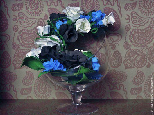 Интерьерные композиции ручной работы. Ярмарка Мастеров - ручная работа. Купить ваза с цветами из фоамирана. Handmade. Бордовый, ваза, пионы